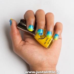 Dégradé de vernis bleu et jaune