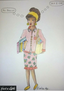 """illustration elanise art """"au boulot, prête pour l'aventure"""""""